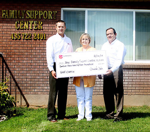 Presenting donation to Family Support Center